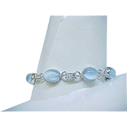 01 - Pretty Sterling Bracelet with Blue Glass Moonstones