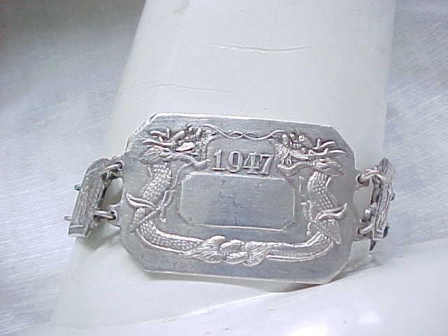 Sterling Silver Bracelet Japan - Dragons -  Dated 1947