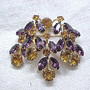 Cascades of Rhinestones - Kramer Pin - Purple, Amber