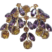 Cascades of Rhinestones - Kramer Pin - Purple, Amber