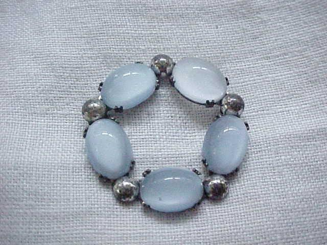Danecraft Sterling & Blue Glass Moonstone Pin