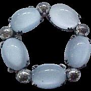 Danecraft Sterling & Blue Glass Moonstone Pin