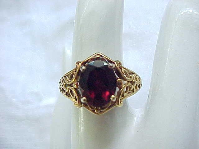 Lovely Sterling & Garnet Ring - Gold Vermeil