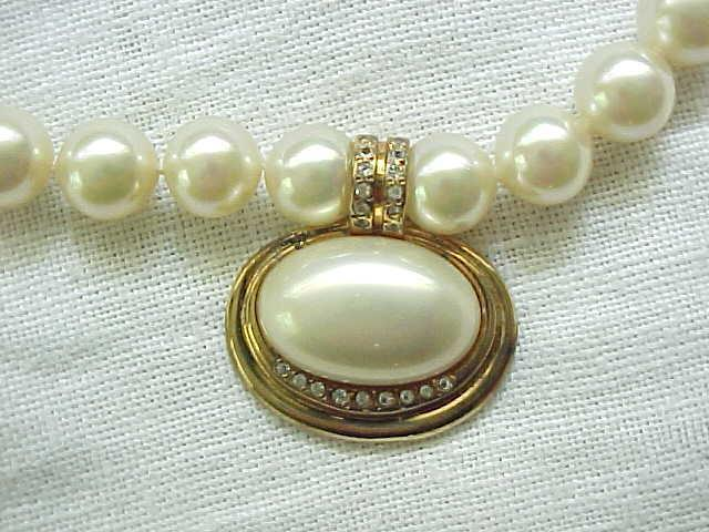Beautiful Faux Pearl Necklace with Sterling (Gold Vermeil) Centerpiece