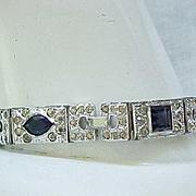 Elegant Art Deco Rhinestone Bracelet - Black Accent Stones