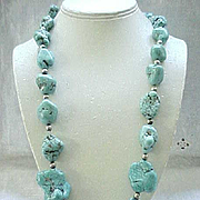 Turquoise Nugget Necklace, Sterling Clasp and Beads - Impressive