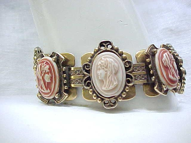 Faux Cameo Bracelet, Wide Book Chain
