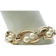 Magnificent Trifari Parure - Faux Pearls, Rhinestones, Original Box