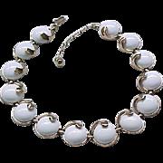 09 - Trifari Thermoset Necklace - White on Goldtone - Quality