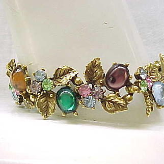 Elaborate ART Bracelet, Earrings, Brooch - Colorful Cabochons, Sparkling Rhinestones