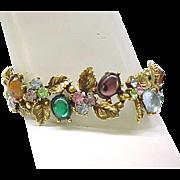 Elaborate ART Bracelet, Earrings, Brooch - Colorful Cabochons, Sparkling Rhinestones