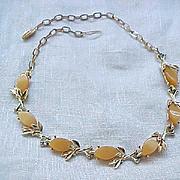 09 - Pretty Thermoset Necklace, Bracelet - Apricot