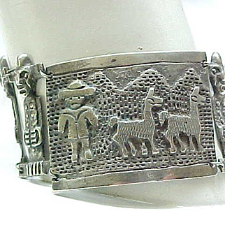 Unusual 900 Silver Bracelet Peru Incan Images