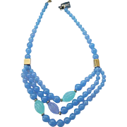 Pretty Trifari Necklace Blue, Purple, Aqua - 3 Strands Beads