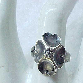 Nye Sterling Silver Dogwood Ring - Adjustable