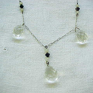 Lovely Necklace Three Crystal Briolettes, Paper Clip Chain