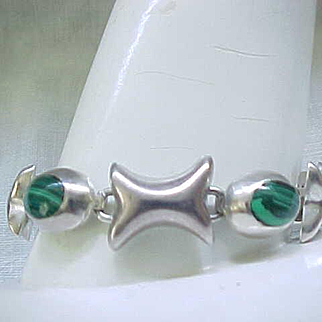 Sterling Silver and Malachite Bracelet - Love the Design!