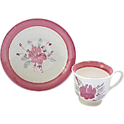 Pink Roseanna Demi Cup and Saucer - Blue Ridge Pottery