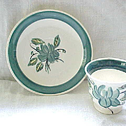 Demi Cup and Saucer Blue Ridge Pottery - Roseanna - Teal