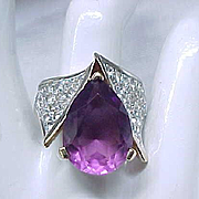 Fabulous Panetta Ring Purple Teardrop, Pave' Set Rhinestones - size 7