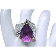 Fabulous Panetta Ring Purple Teardrop, Pave' Set Rhinestones - size 7