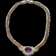 Exquisite Panetta Necklace - Pave' Set Rhinestones, Purple Center