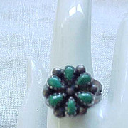 01 - Native American Squash Blossom Sterling & Turquoise Ring - Size 8