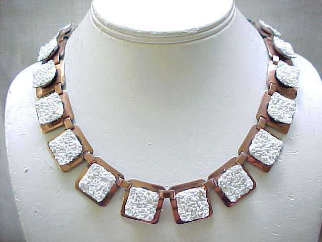 06 - Matisse California Dreamin' White Enamel & Copper Necklace,  Earrings