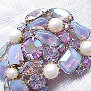 Gorgeous Opalescent Purple & Rhinestone Brooch