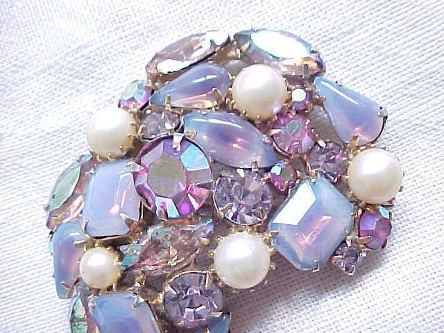 Gorgeous Opalescent Purple & Rhinestone Brooch