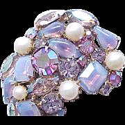03 - Gorgeous Opalescent Purple & Rhinestone Brooch