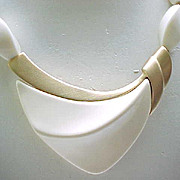 Kunio Matsumoto MOD Necklace - Cream & Brushed Goldtone