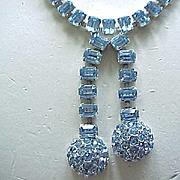 Exquisite Ledo Ice Blue Rhinestone Necklace, Bracelet, Earrings