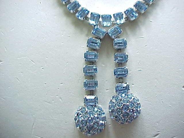 Exquisite Ledo Ice Blue Rhinestone Necklace, Bracelet, Earrings