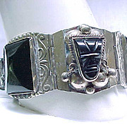 Sterling Taxco Bracelet - Onyx Masks - 60 grams