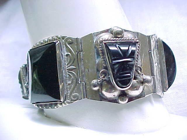 Sterling Taxco Bracelet - Onyx Masks - 60 grams