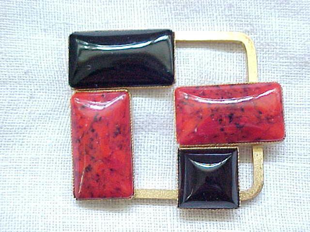 Designer Pierre Cardin Red & Black Brooch
