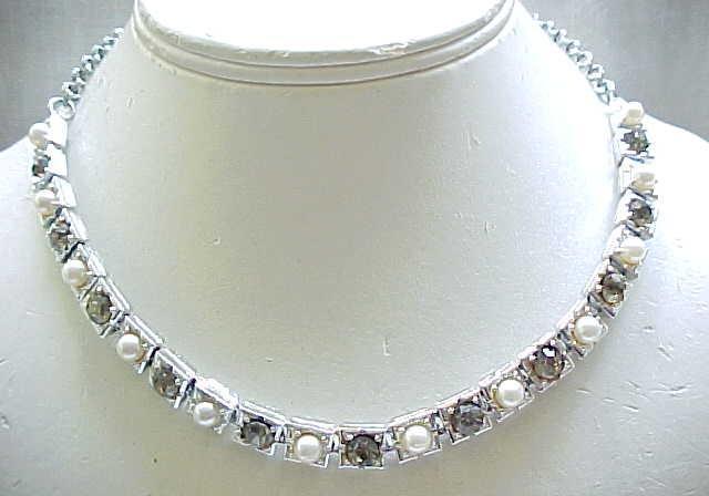 02 - Elegant Faux Pearl & Black Diamond Rhinestone Necklace,  Earrings Elizabeth Morrey
