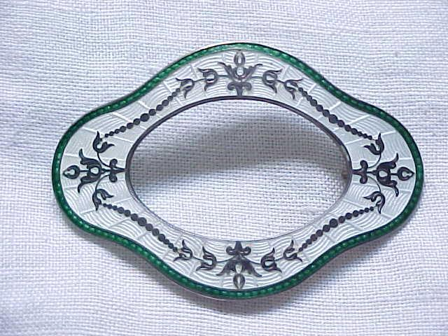 Sterling Brooch Guilloche' Enamel, Sterling Floral Overlay - Roden Bros. Toronto - A Masterpiece