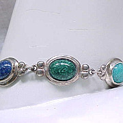 Sterling Silver Bracelet Glass Gemstones