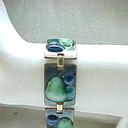 FAbulous Fused Glass Bracelet Huge Brooch Kay Denning - Mid Century Modern