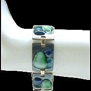 FAbulous Fused Glass Bracelet Huge Brooch Kay Denning - Mid Century Modern