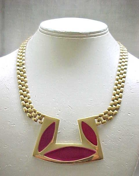 Pretty Deep Pink Enamel Necklace, Tank Track Chain - Monet