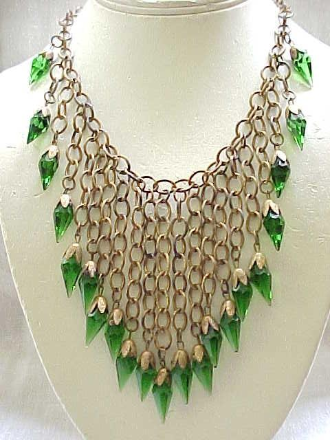 Incredible Bib Style Necklace - Emerald Green Briolettes
