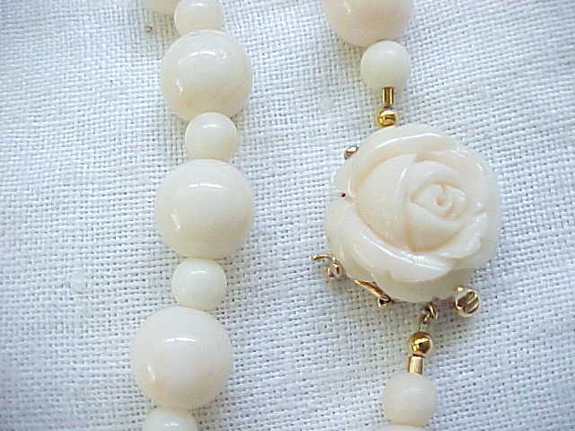 Exquisite Angelskin Coral Necklace, 14K Gold Clasp with Carved Coral Rose