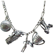 Sterling Silver Golf Charm Necklace - 5 Charms