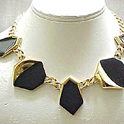 Day to Evening Black Enamel Monet Necklace