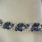 Deep Sapphire Blue Rhinestone Necklace, Bracelet - Trifari