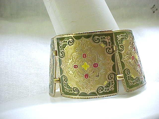 09 - Extra Wide Damascene Bracelet, Green, Red, Yellow - Germany