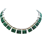 Fascinating Sterling Silver & Malachite Necklace